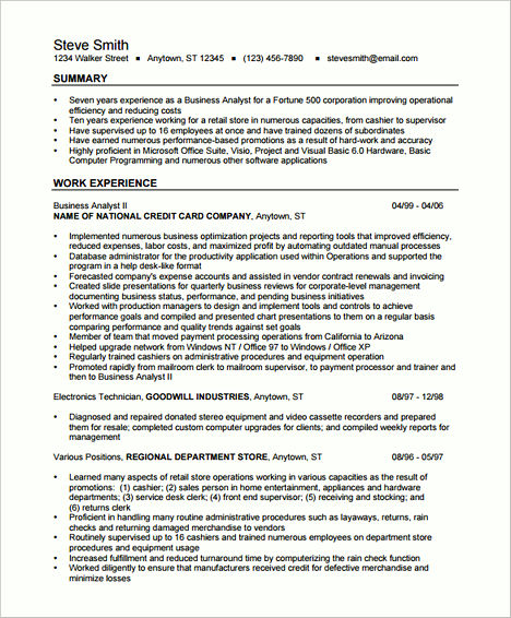business analyst resume sample and tips - Sample Credit Analyst Resume