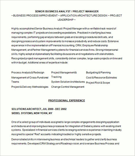 business process analyst resumes