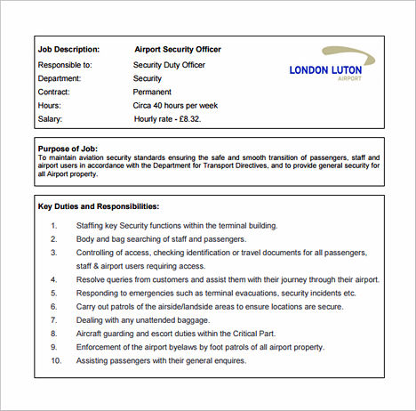 Airport Security Officer Job Description Free PDF Template Download