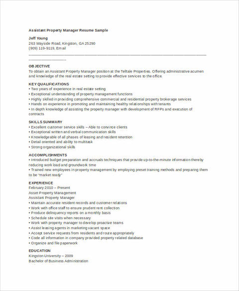 So, In The Property Manager Resume, It Should Include Your Expertise  Including Skills And Personalities That Describe You Deserve To Get The Job  That ...  Assistant Property Manager Resume Sample