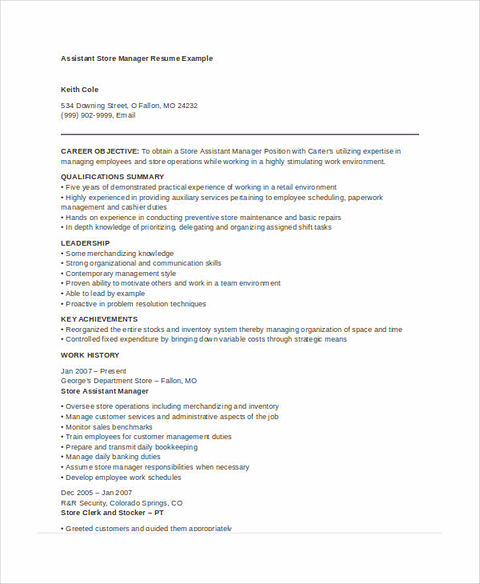 resume for assistant store manager