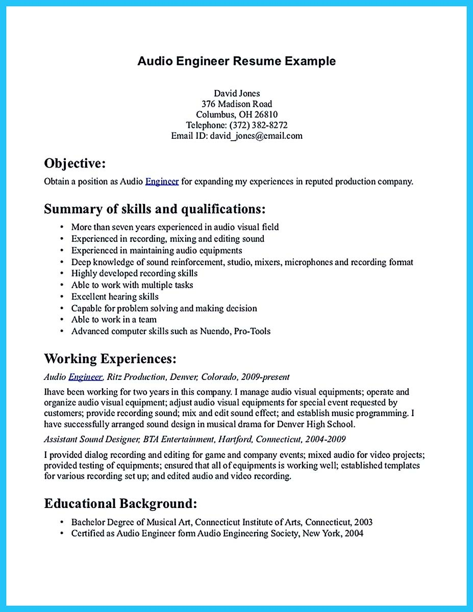 ... Audio Engineer Resume Example ...