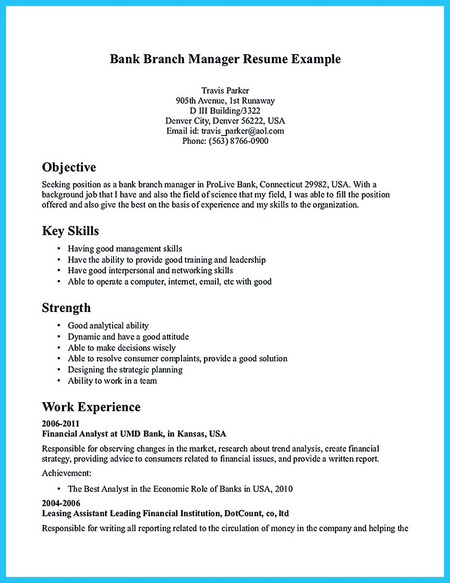Starting successful career from a great bank manager resume for Sample resume to apply for bank jobs