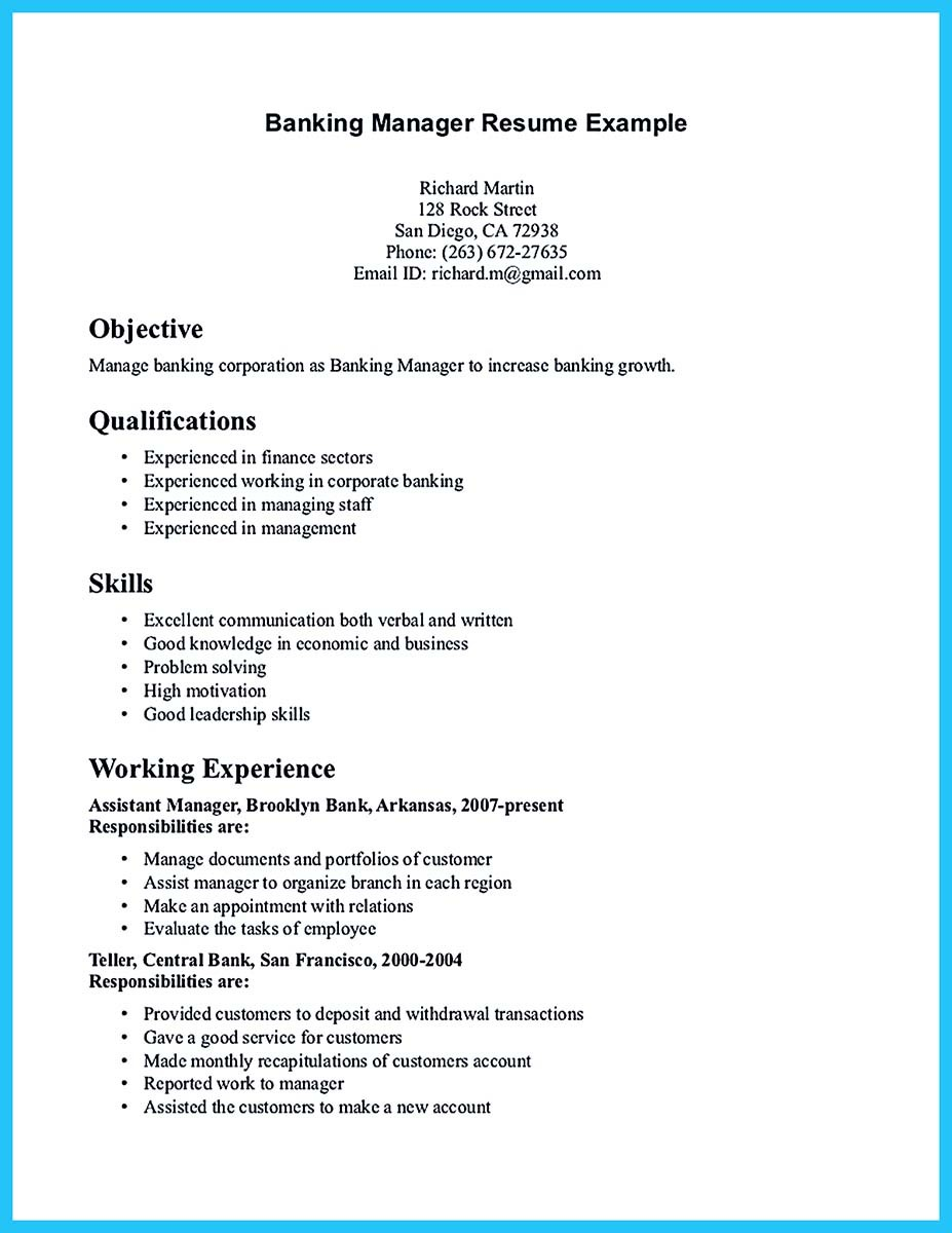 sample resume objective bank branch manager - Objective For Bank Resume