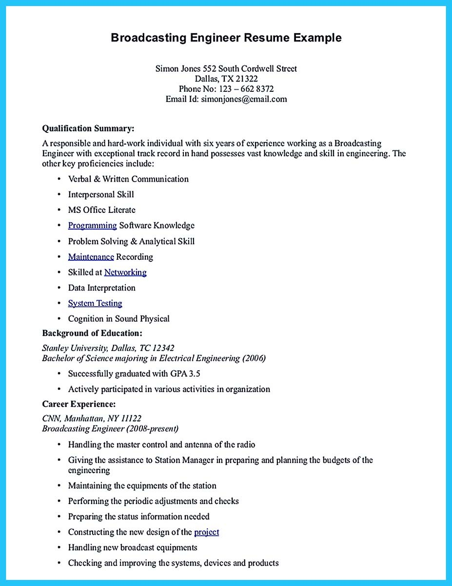 Broadcasting-Engineer-Resume-Example