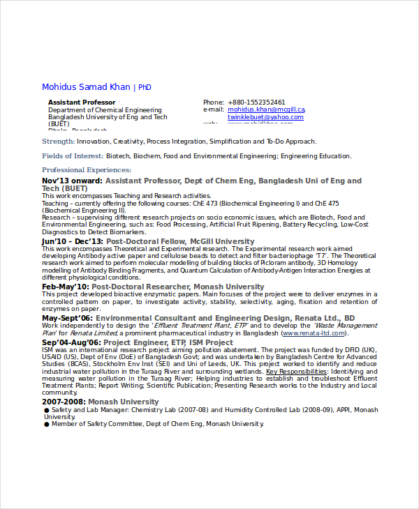 how to write a chemical engineering cv