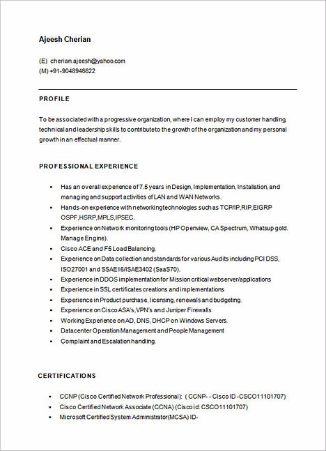 Resume for hardware and networking engineer fresher