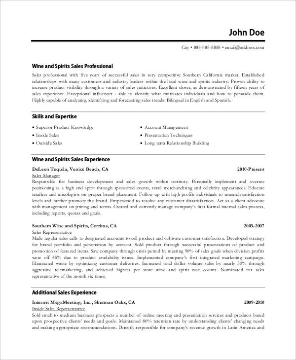Corporate Sales Executive Resume