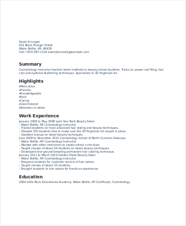 Cosmetology Instructor Resume (1)  Cosmetologist Resume Sample