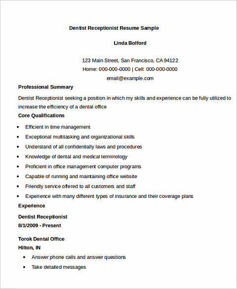 receptionist resume for successful applicants