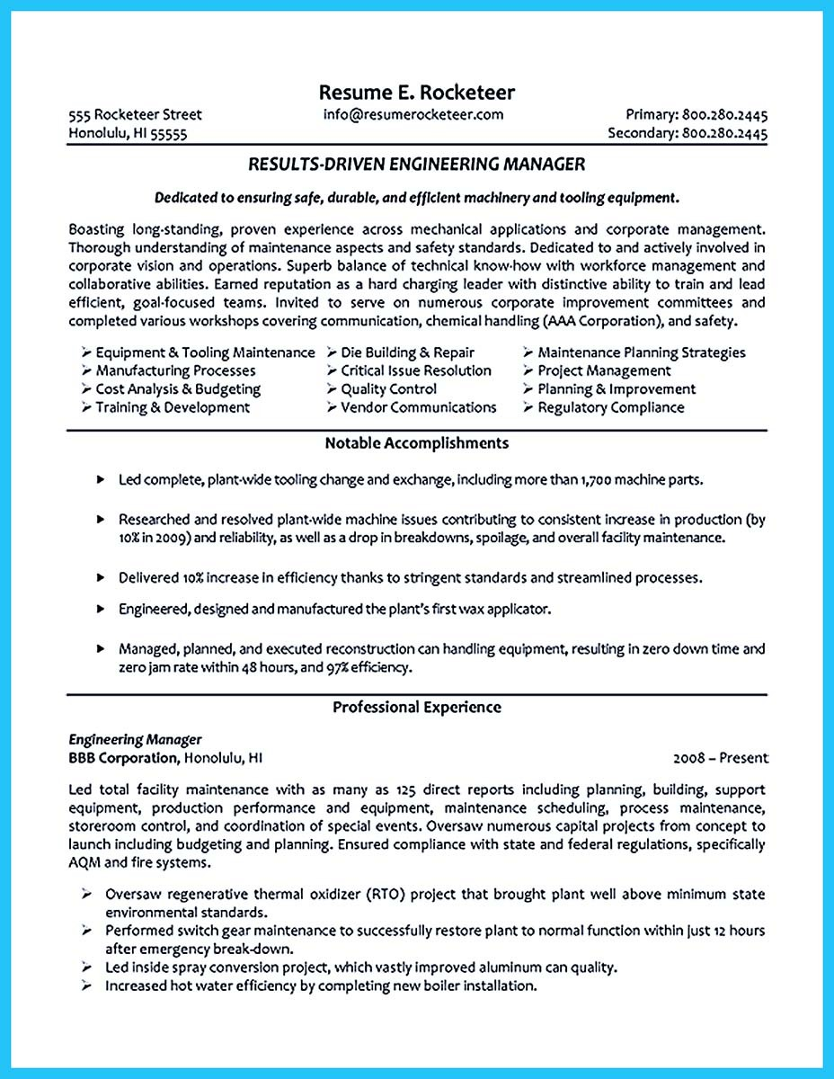 Example Of A Functional Resume Format Template Net  Engineering Manager Resume