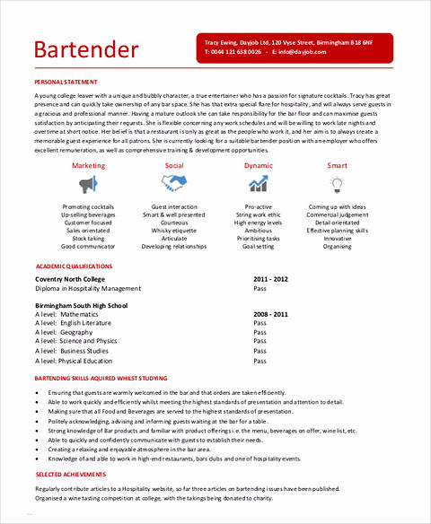 review and revise your bartender resume
