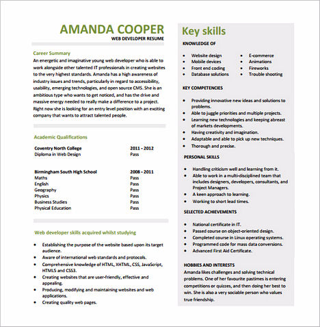 that is what you need to know about web developer resume as well as the tips to fill the resume you can also take a look at the sample or template of front - Web Design Resume Examples