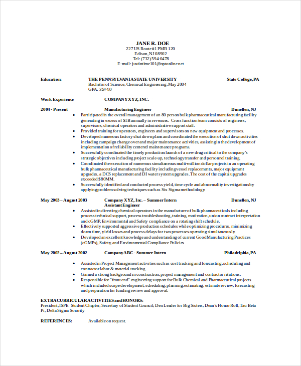 9+ Chemical Engineering Resume | How To Write A Resume In Simple Steps