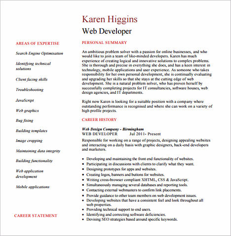Web Developer Resume Sample And Tips