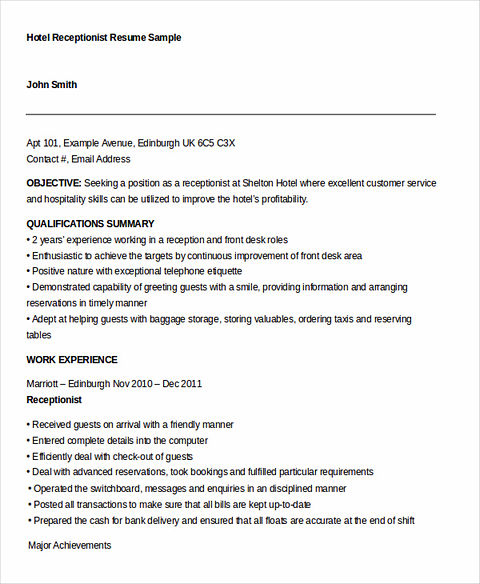 Resume examples for receptionist job