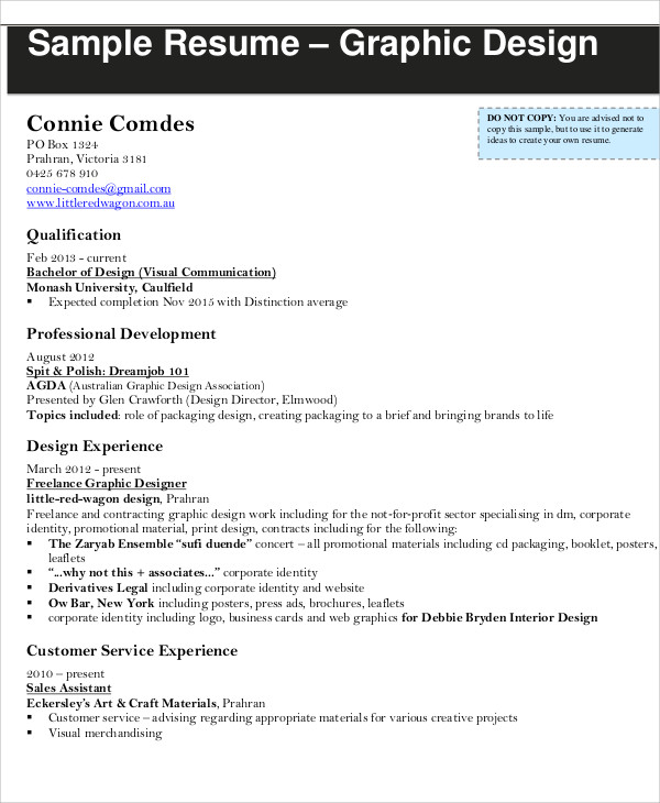 Resume help for graphic design