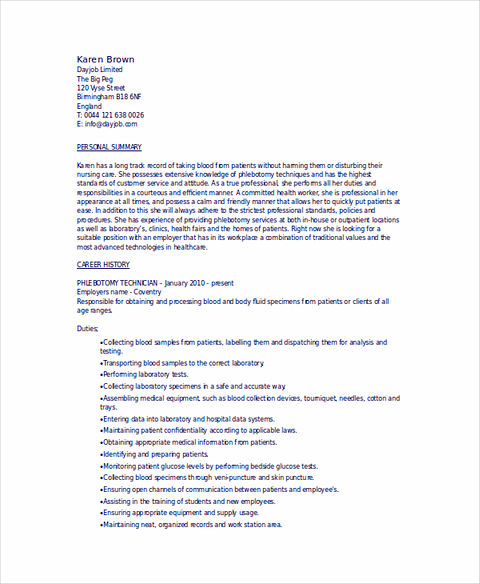 So, When You Are Writing Phlebotomy Resume, It Should Include Many  Important Things Or Highlights And Snapshot Of Your Professionalism As A  Phlebotomist.  Phlebotomist Resume Sample