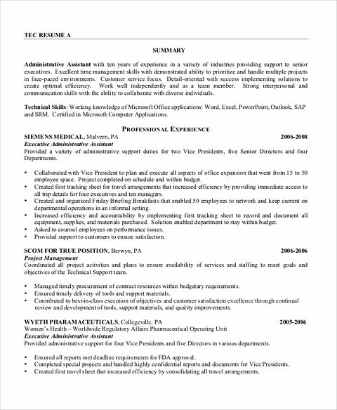 administrative assistant technical skills