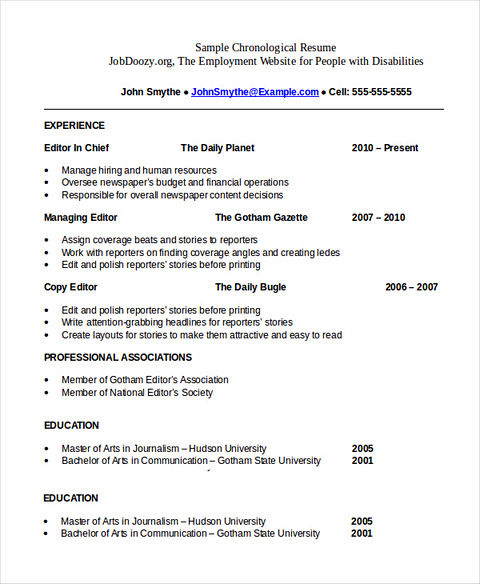 The Order of Good Chronological Resume Sample – Professional Chronological Resume Template
