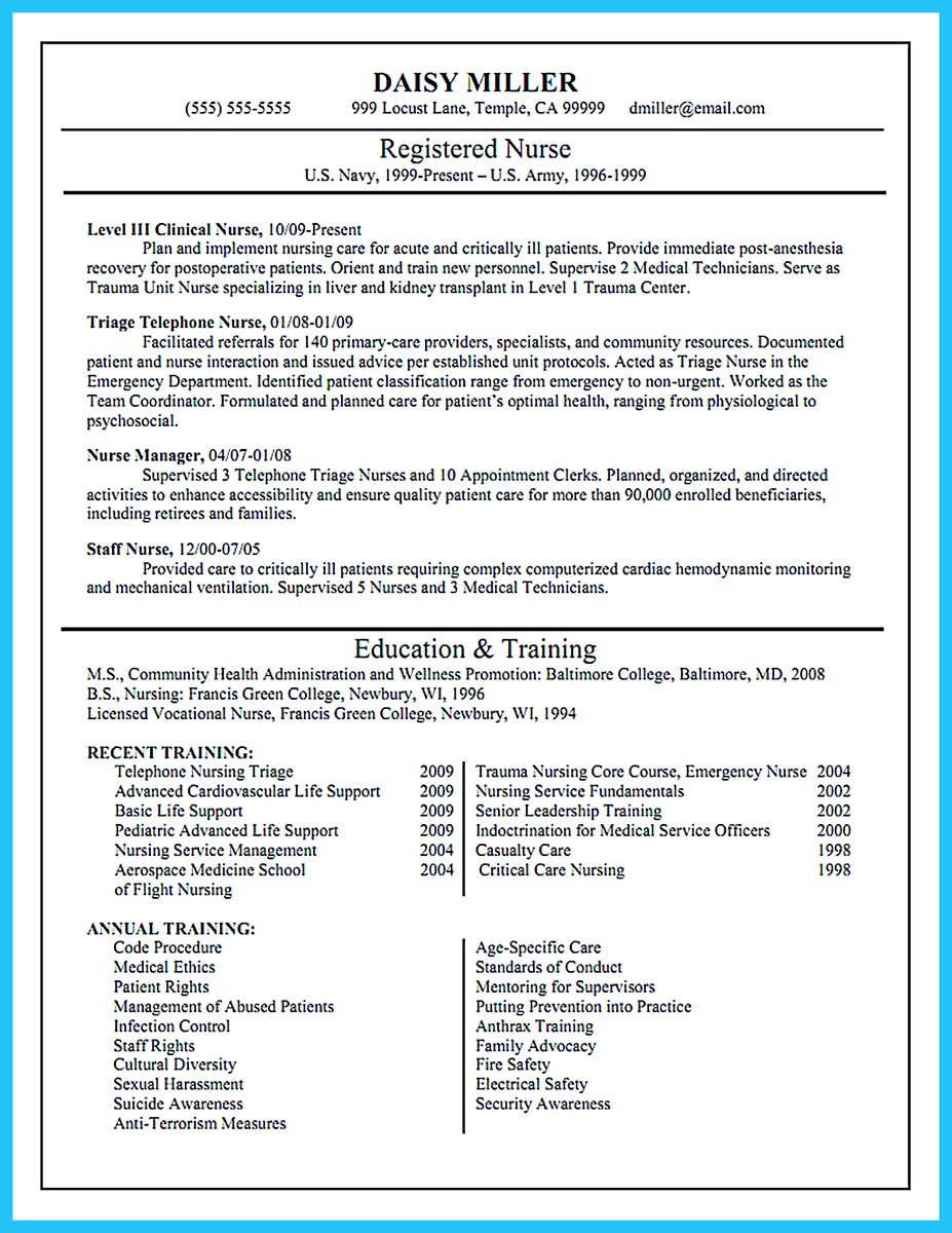 ... Registered Nurse Resume Example ...  Nursing Resume Example