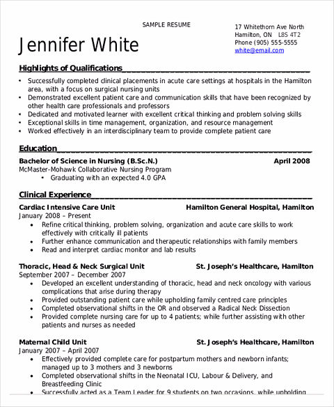 Sample Nursing Resume Clinical Experience: Nursing Student Resume Samples And Tips