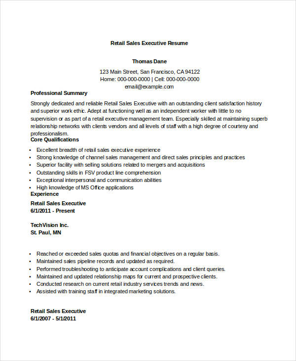 retail sales executive resume1 retail sales executive resume