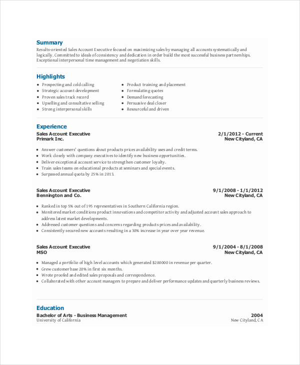 sales account executive resume6 sales account executive resume - Account Executive Resume Sample
