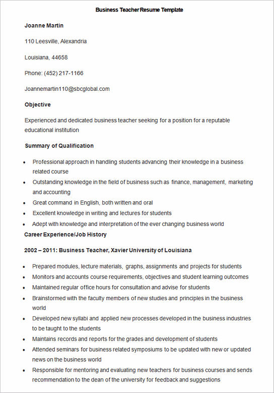 have your own best teacher resume