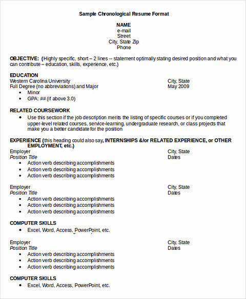 chronological resume sample includes first your contact information it is name email address and phone number the next is resume information - How To Write A Chronological Resume