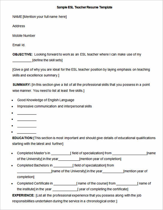 Sample-ESL-Teacher-Resume-Template Sample Curriculum Vitae For It Teacher on latest format, for accountant partner, medical student, cover letter, for chiropractors, fresh graduate, offer letter, for administrative assistant,