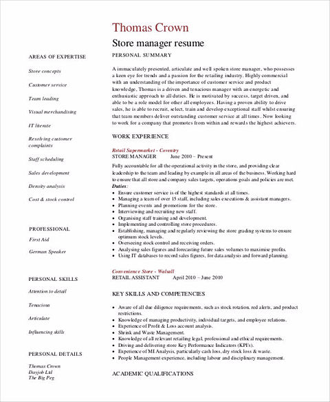 Store manager resume examples