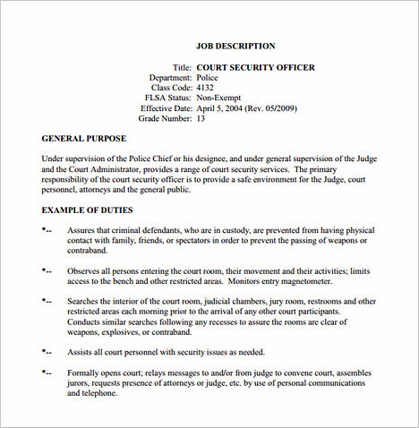 Security Officer Job Description for Court Free PDF Download