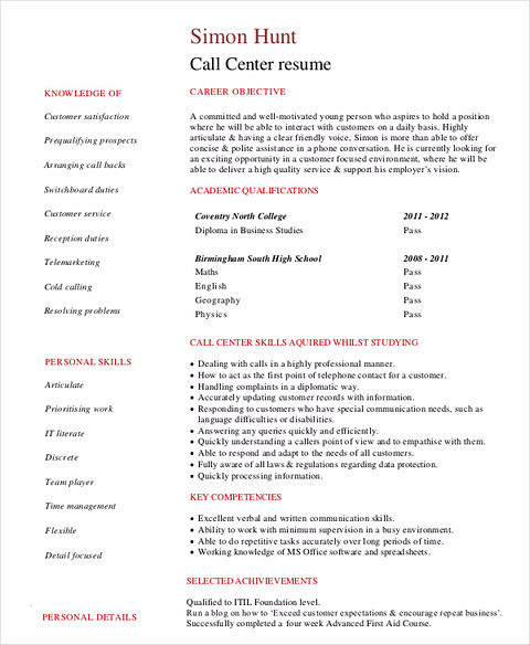 Call Center Resume The Key Success For The Applicants