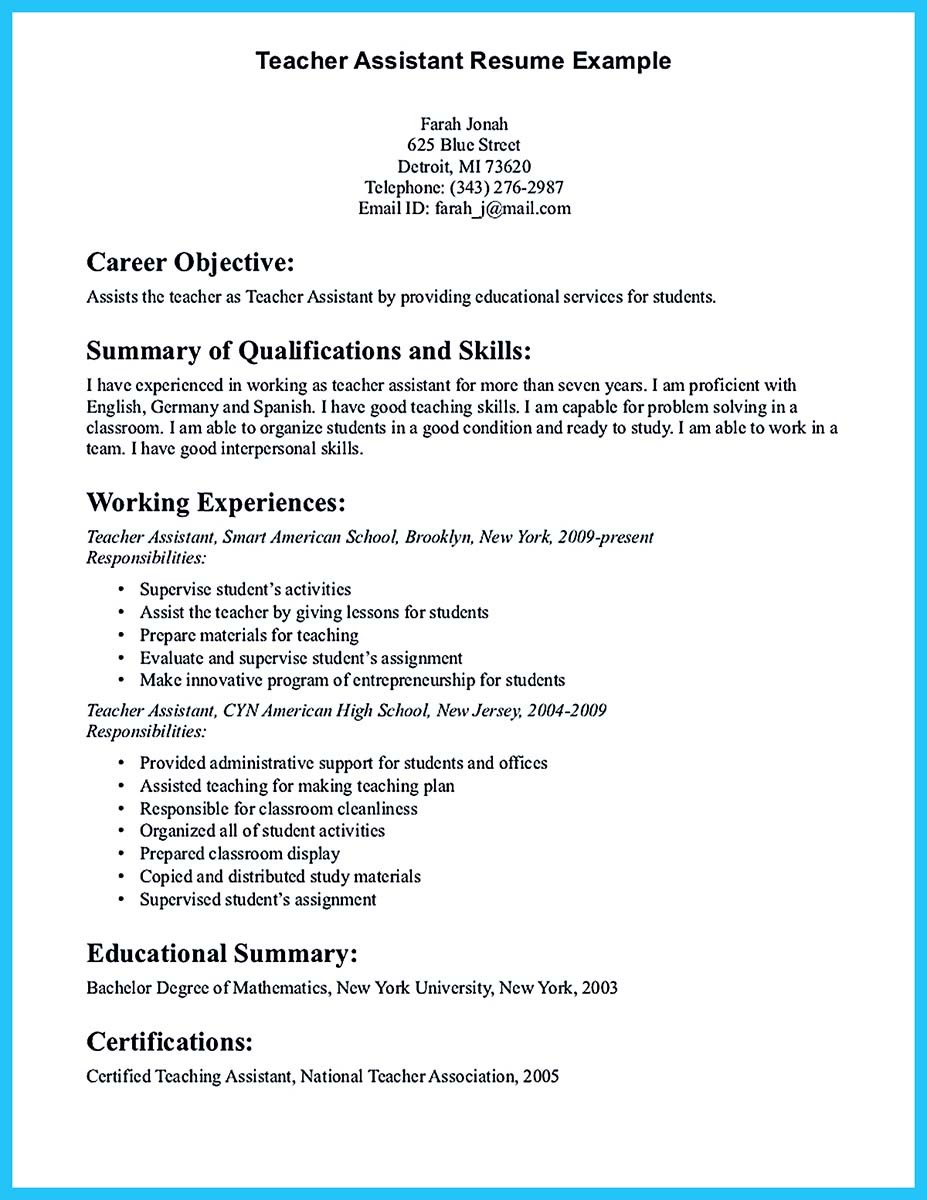 ... Teacher Assistant Resume Example ...  New Teacher Resume Examples