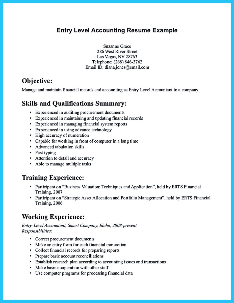 Resume Objective Samples Accounting