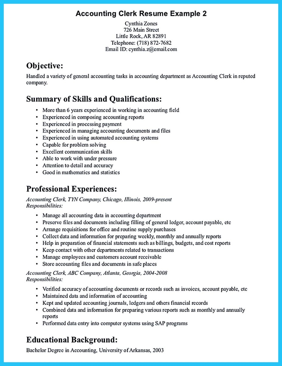 sample for writing an accounting resume - Objective For Accounting Resume