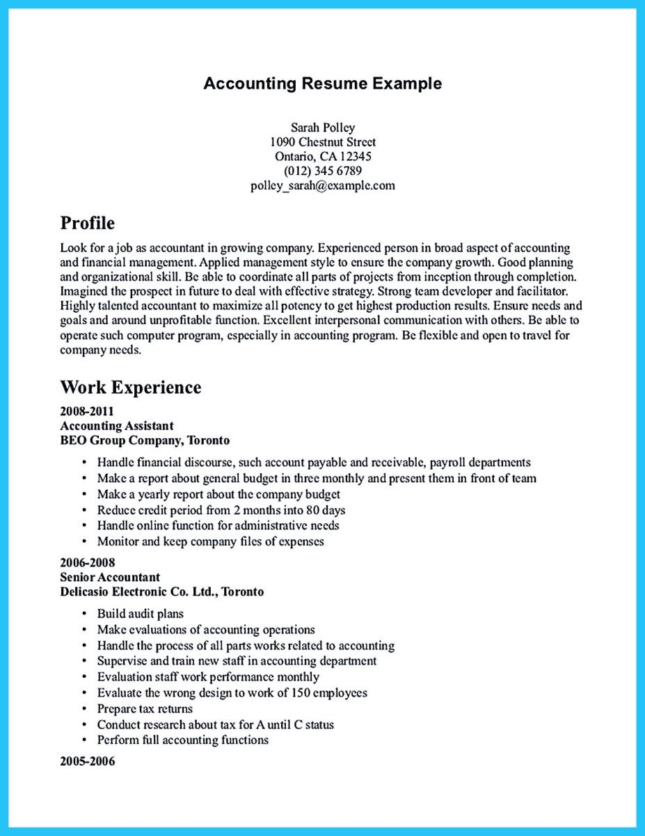 resume in accounting - Cpa Resume Examples
