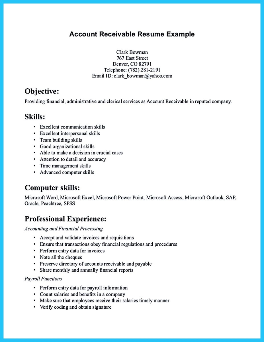 Awesome Account Receivable Resume To Get Employer Impressed   Accounts  Receivable Invoice Template