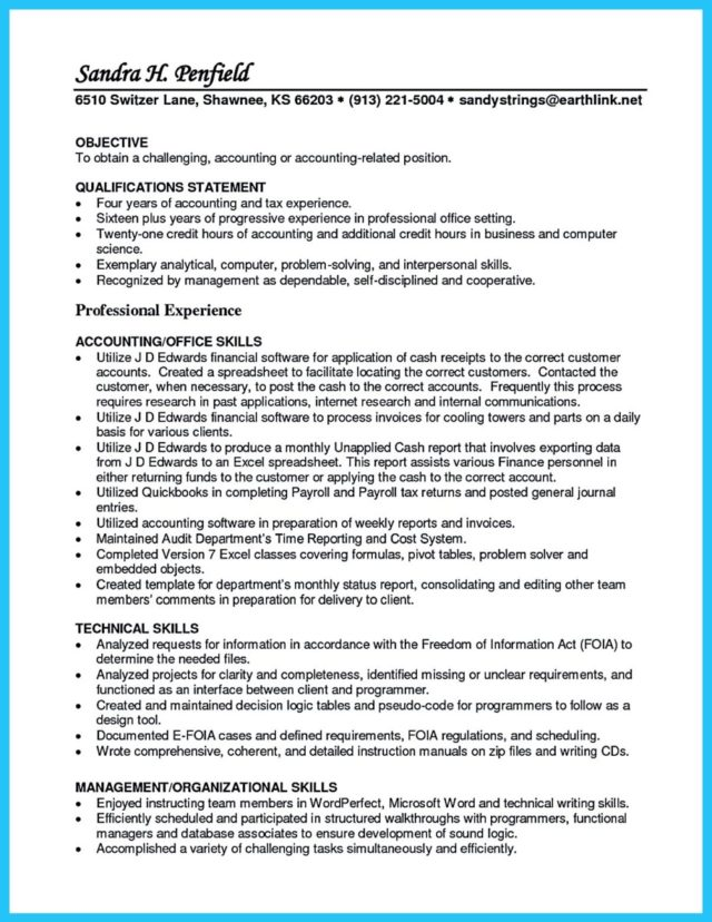 resume executive summary samples
