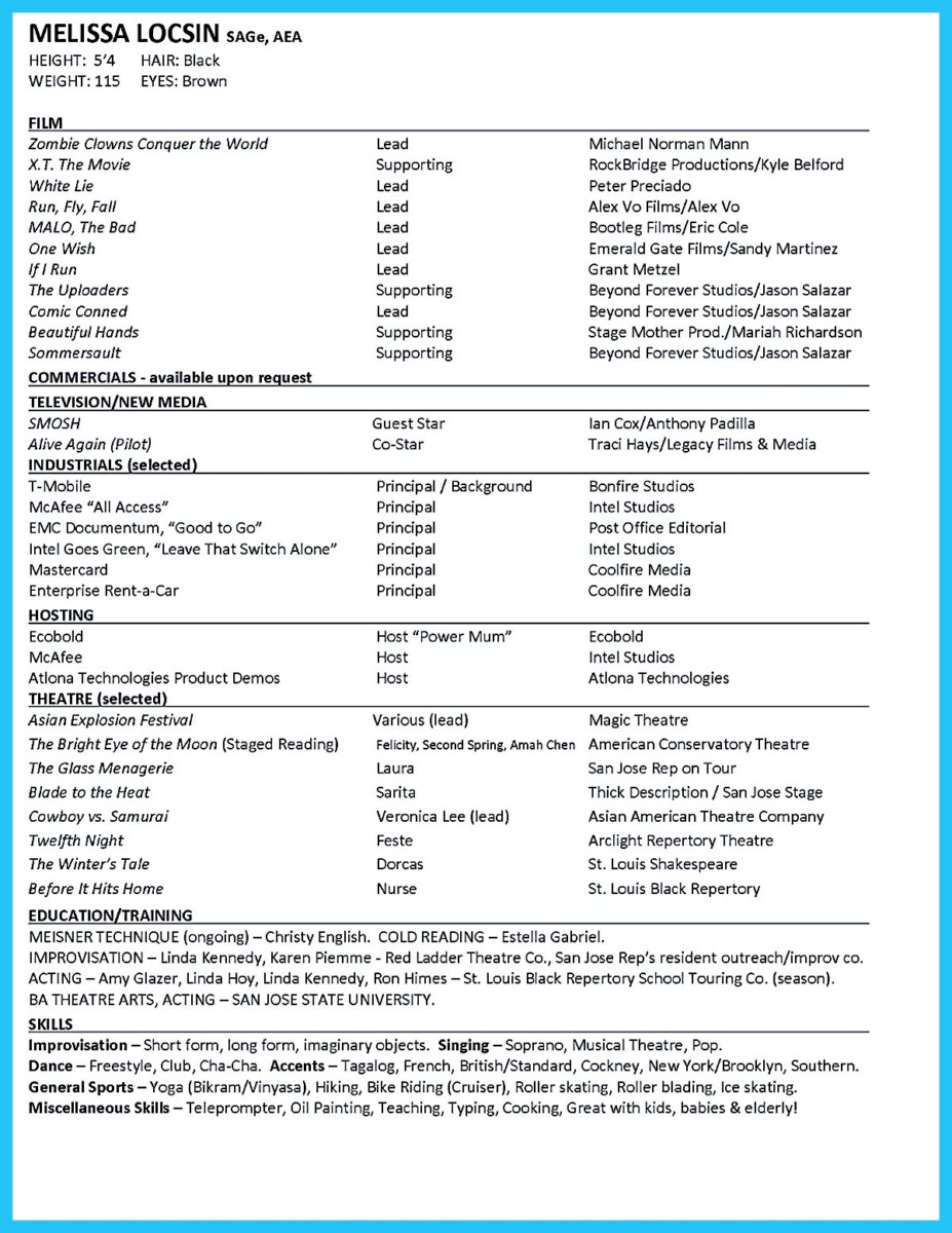Acting Resume Examples For Beginners ...  How To Make A Theatre Resume