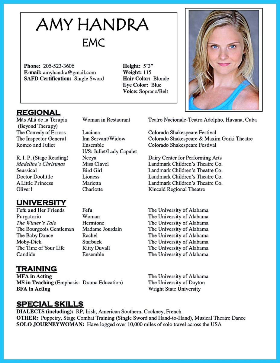 acting resume for beginners