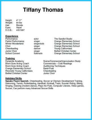 Outstanding Acting Resume Sample to Get Job Soon  %Image Name