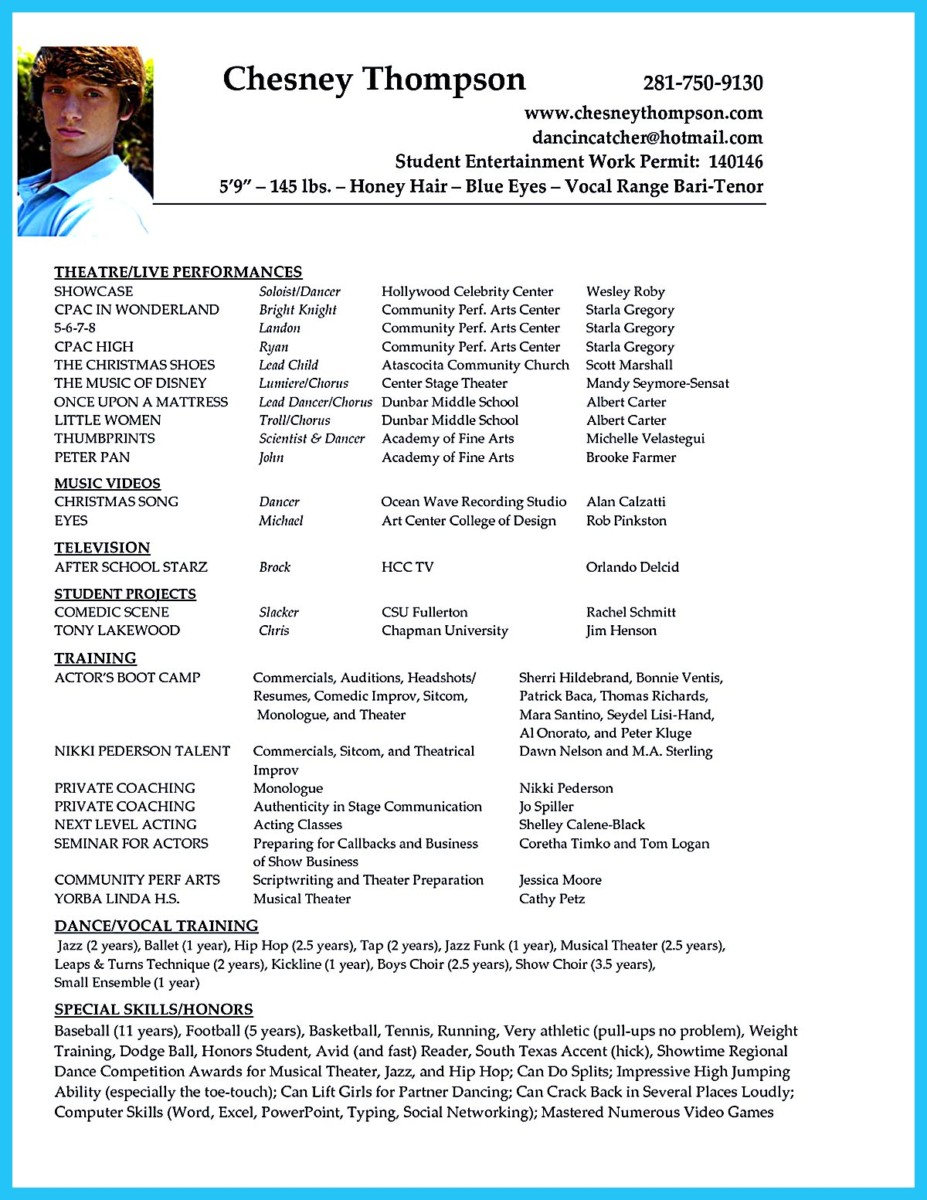 Resume template for actors