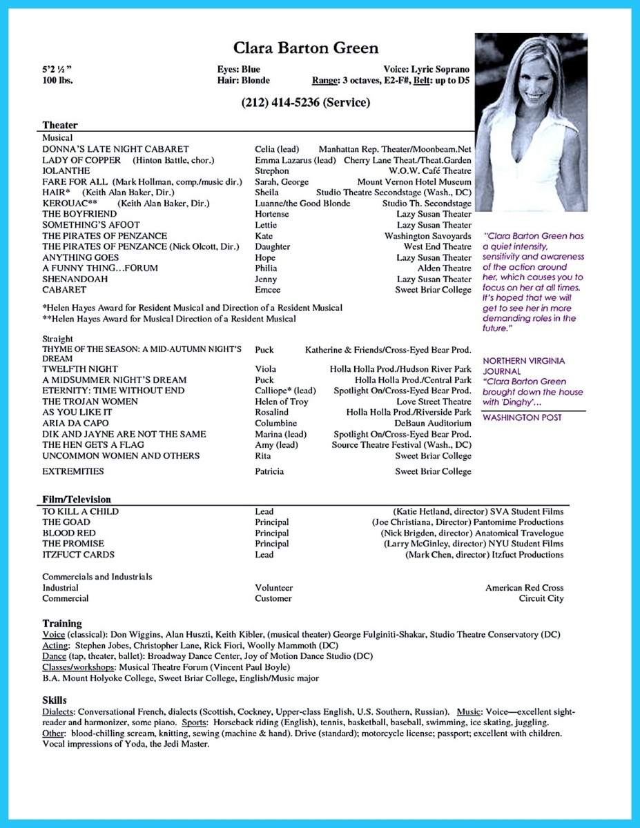 Outstanding Acting Resume Sample to Get Job Soon – Sample Acting Resume