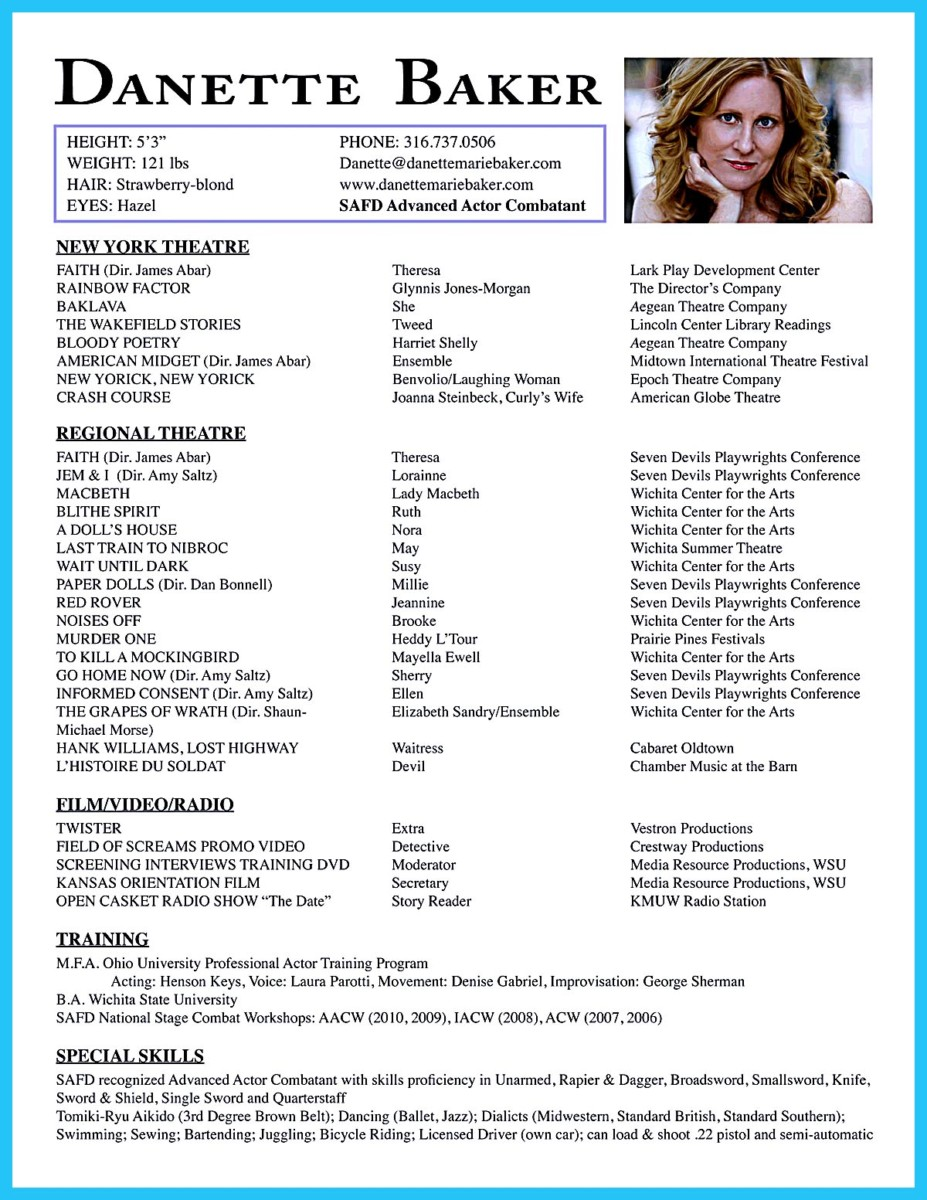 acting resume template for beginners - Resume Format For Actors