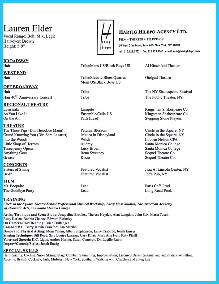 Actors Resume Samples Put Childs Acting Resume Amazing Actor Resume