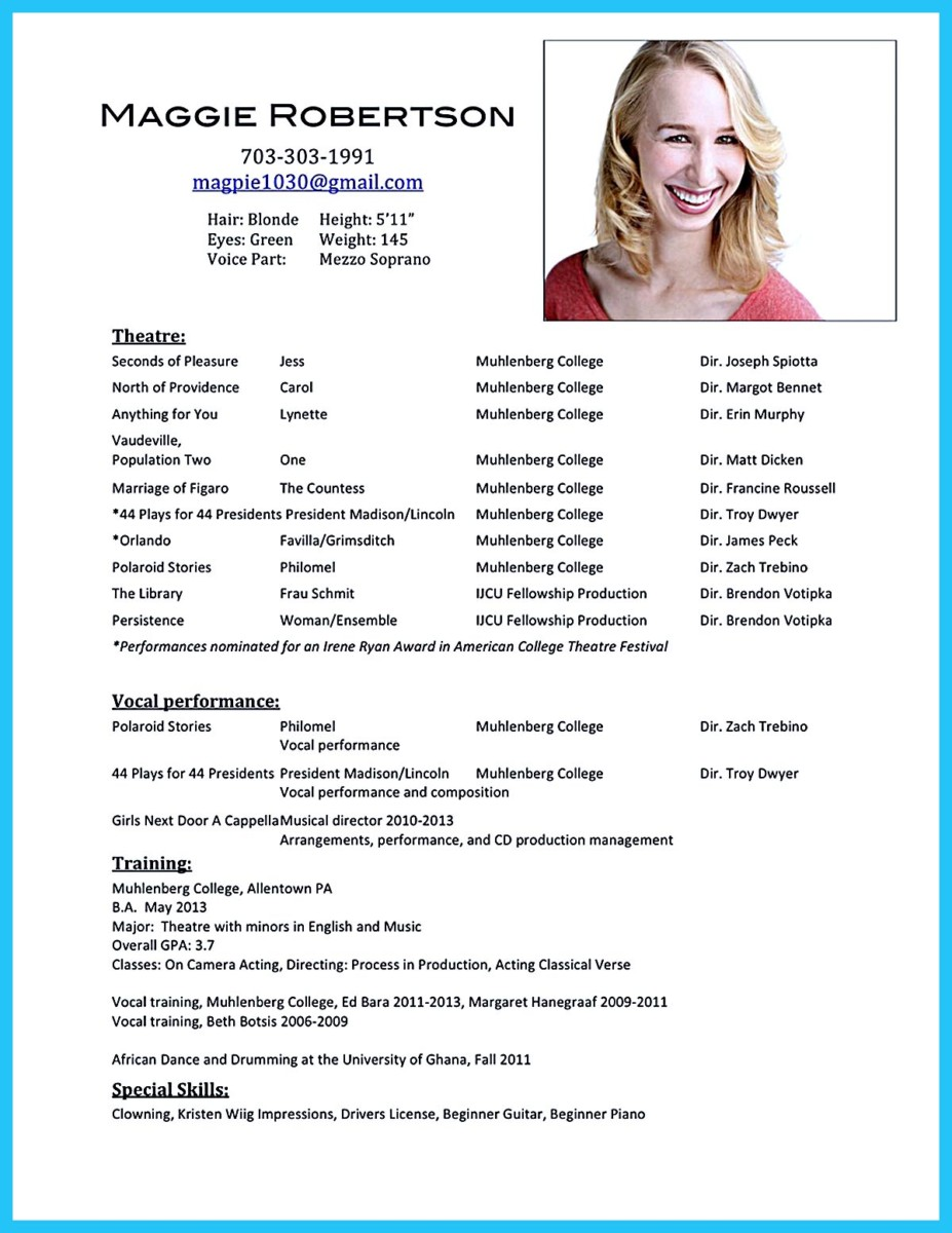 Outstanding acting resume sample to get job soon for Actors cv template free