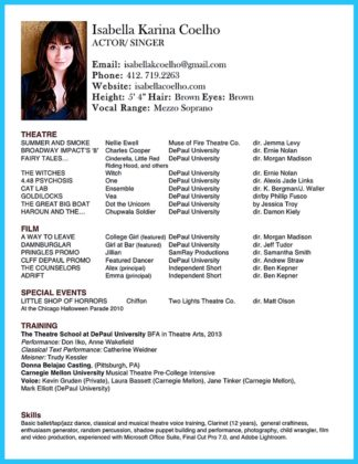 acting resume template google docs