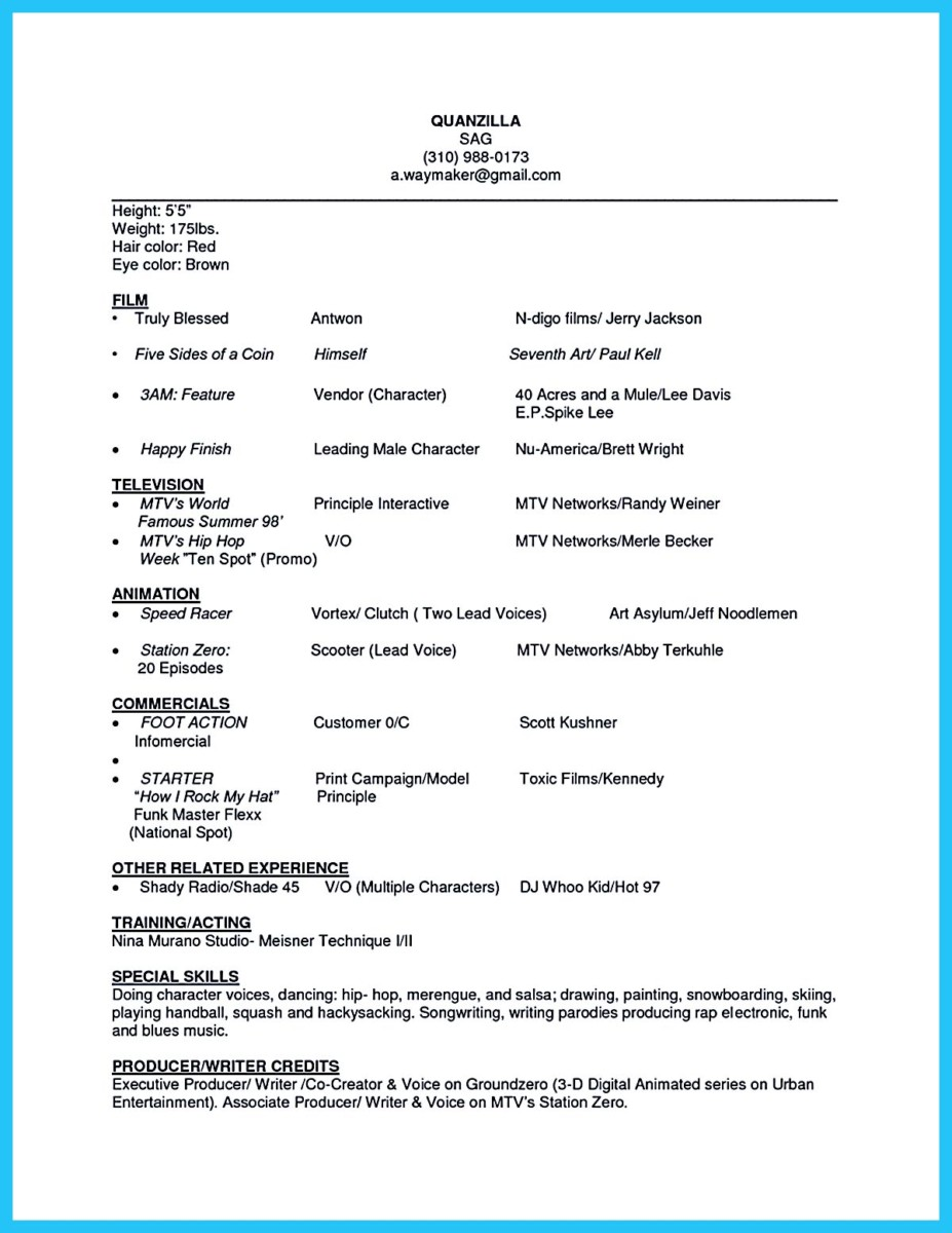 example actor resume impressive actor resume sample make how